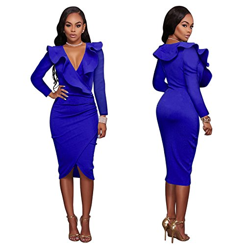 Plain Dress Blue Ruffle Dress Dress Women's Neck V Woman Midi VERTTEE Tight Wrap Party Sleeve Long Bodycon Club With wZCt74xnq