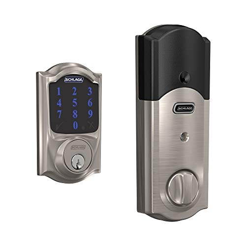 Schlage Z-Wave Connect Camelot Touchscreen Deadbolt with Built-In Alarm, Satin Nickel, BE469 CAM 619, Works with Alexa via SmartThings, Wink or Iris (The Best Deadbolt Lock)