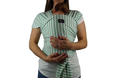 Baby Carrier Wrap by Moonlight Babies | Breathable Soft and Stretchy Material | Ergonomic, Safe & Secure for Newborns, Babies & Infants - Green and White Stripe