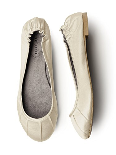 Womens Matte Satin Ballet Flats with Pleated Toe Detail by Dessy Palomino CKwY3MmdmO