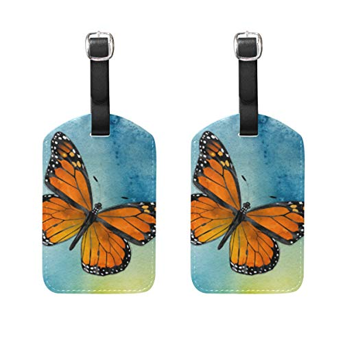 - 2 Pack Luggage Tags Monarch Butterfly Travel ID Bag Suitcase Handbag Tags