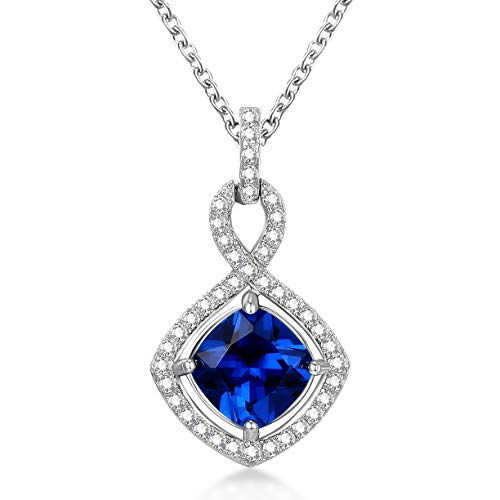 GuqiGuli Sterling Silver Lab-Created Blue Sapphire Jewelry Infinity Pendant Necklace, ()