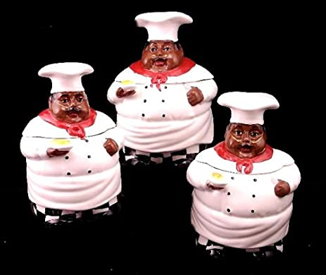 Kitchen Decor, African American Guys, Bistro Black Happy Chef, 3pc Canister  Set,