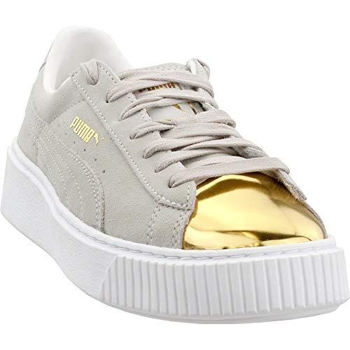 PUMA Women's Suede Platform Fashion Sneaker, Gold-Star White, 8.5 M US