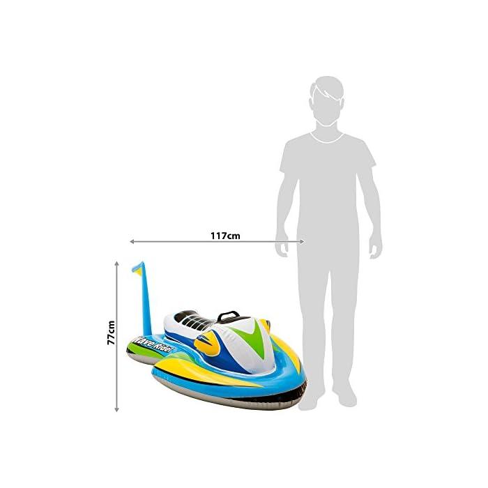 41LSybuJb4L Moto acuática hinchable Intex tanto para piscinas como para la playa; medidas de la pieza hinchada: 117x77 cm La base es ancha para una mayor sujeción y lleva incorporada un asa grande para mayor estabilidad en el agua Diseño moderno, combina varios colores: verde, azul, amarillo, gris, blanco y negro