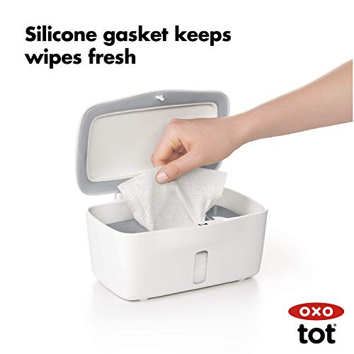 41LSz0g%2BcCL - OXO Tot Perfect Pull Wipes Dispenser, Gray