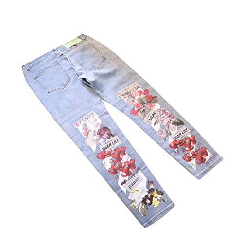Pantalones Gotfeelin Cintura Bolsillos De Bordado Mujeres Vaqueros Blue Mezclilla Largos Las Con Mediados Floral qFw6F7XH