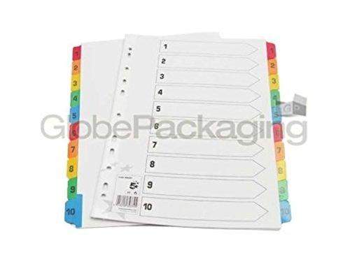 Set di 20 divisori formato A4, numerati 1-10 e linguette in plastica globe packaging