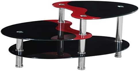 Home Source 3-Tier Contemporary Glass Coffee Table, 43 by 24 by 18-Inch, Black Red