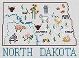 North Dakota Map Cross Stitch Chart and Free Embellishment