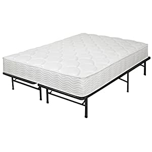 Best Price Mattress 8-Inch Tight Top iCoil Spring Mattress and Metal Platform Bed Frame Set, Full