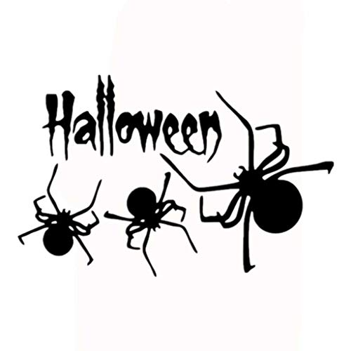Respctful✿ Happy Halloween Pumpkins Spooky Cemetery Witch and Bats Tomb Wall Decals Window Stickers Halloween Decorations Black]()