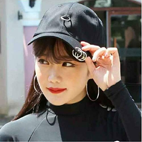 Amazon.com  Ulzzang K-Pop Snapback Iron Ring Korean Streetwear Fashion  Design Baseball Cap Youth (Love Txt Black)  Clothing f28ddb684572