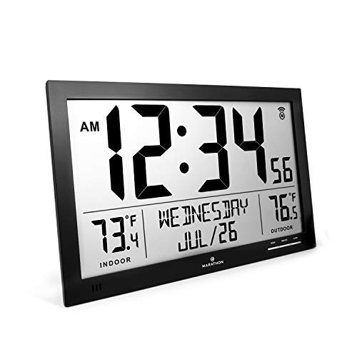 Marathon CL030066BK Slim Atomic Full Calendar Clock with Indoor/Outdoor Temperature. Extra Long 4.5 Inch Digits. Comes with External Probe for Refrigerators. Color-Black.