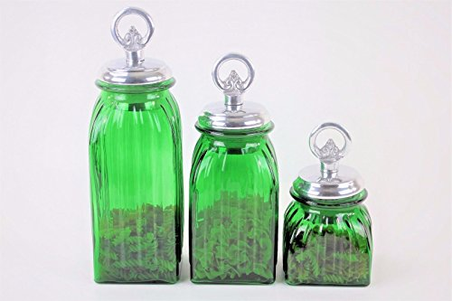 GREEN 3PC. GLASS CANISTERS SET (RING, SILVER) FREE SALT & PEPPER
