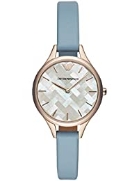 Womens Dress Quartz Stainless Steel and Leather Casual Watch, Color:Blue (