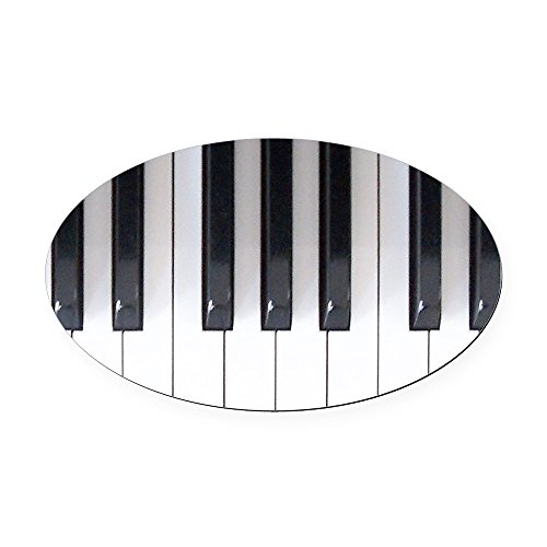 CafePress - Piano Keyboard 5 Oval Car Magnet - Oval Car Magnet, Euro Oval Magnetic Bumper ()