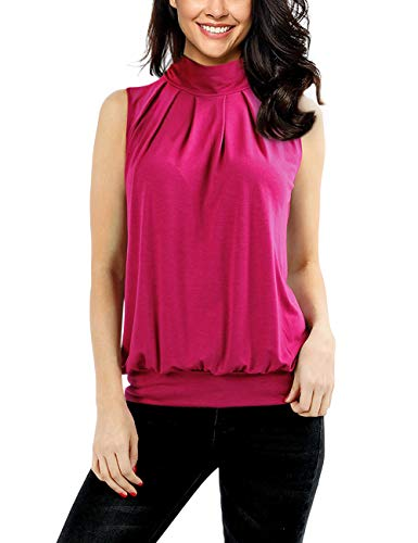 Yesfashion Women Sleeveless Mock-Turtleneck Pleated Tank Top Rose Red L