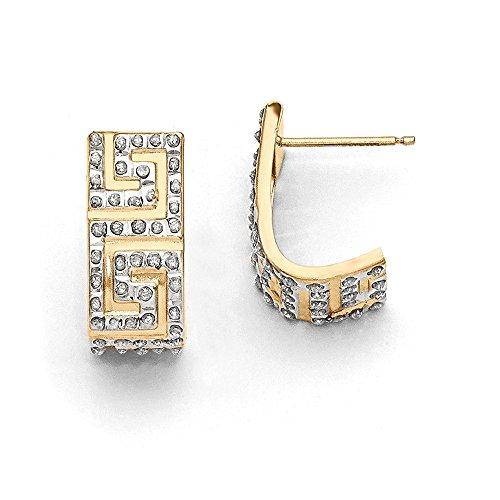Greek Key Post Earrings - Mia Diamonds 14k Yellow Gold (0.01cttw) Diamond Fascination Greek Key Post J Hoop Earrings (18mm x 8mm)