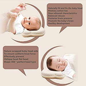 Baby Pillow, Newborn Baby Head Shaping Pillow Preventing Flat Head Syndrome (Plagiocephaly) for Your Newborn Baby,Made of Memory Foam Head- Shaping Pillow and Neck Support (0-12 Months) (Yellow)