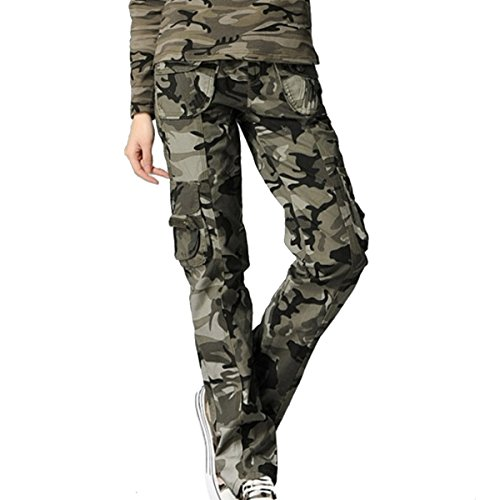 Aubig Womens Casual Outdoor Military Woodland Camouflage Cargo Pants Size XL