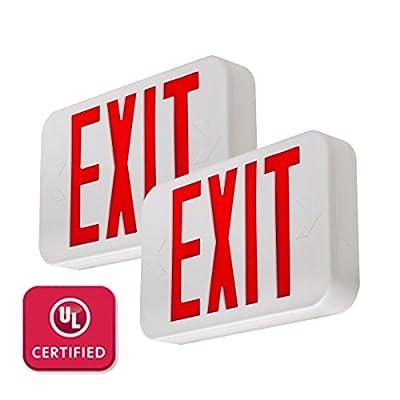 LFI Lights - 2 Pack - Hardwired Red LED Exit Sign, Modern Design - Battery Backup - Emergency Fire Safety - UL924 - LEDRBBJRx2