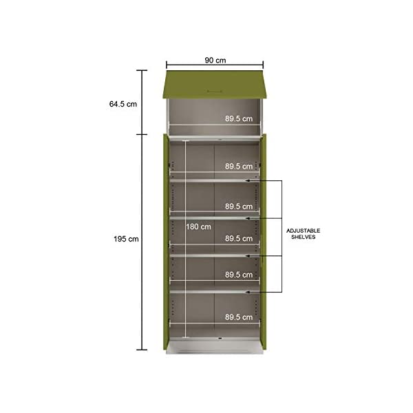 GODREJ INTERIO Slimline 2 Door Steel Almirah 4 Shelves, OHU, Green Leaf 2021 July Dimension ( W xH xD): 90 x 260 x 50.7 CM / Warranty : 1 Year The furniture with which you furnish your home reflects your style and sensibilities. The sleek Slimline Wardrobe adds style points to your bedroom. CRCA Steel has stood the test of time and durability. This is why the Slimline Wardrobe excels in both, giving a piece that is strong and long-lasting.