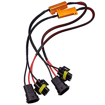 HUIQIAODS H11 H8 H9 880 881 Wire Harness Kit 50W 6Ohm LED Load Resistor Fix Hyper Flashing Blinking Canbus Error Warning Canceller Fit Upgrading LED Headlight Fog DRL Light 2Pcs: Automotive
