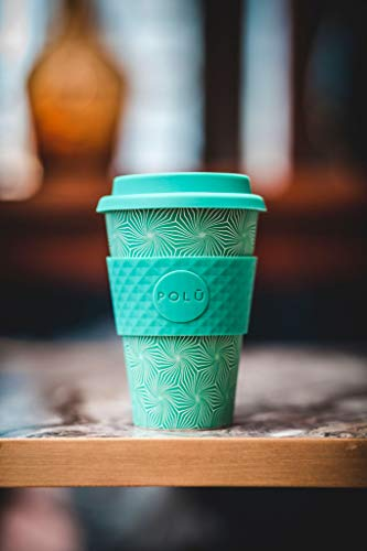 - POLŪ Bamboo Fibre Reusable Coffee Cup/Travel Cup - Coral Reef - 16oz/455ML