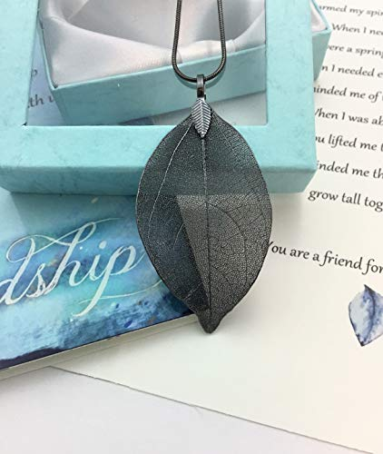 Smiling Wisdom - Gray Black Real Leaf Friendship Necklace Gift Set - Reason Season Lifetime Friendship Greeting Card - Long Bohemian Statement Sweater Necklace - Her, BFF, Awesome Best Friend, Woman