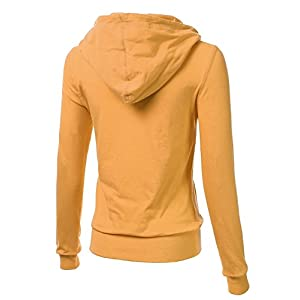 FLORIA Women Casual Basic Solid Knit Stretch Lightweight Zip Up Hooded Jacket Mustard S