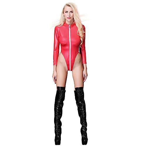 YKARITIANNA Women Sexy Jumpsuit Leather Clubwear Tight Uniform Temptation Nightdress Zipper 2019 Summer Red
