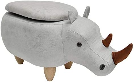 Bella E. Ottomal animal shaped ottoman with secret storage, L 27 x W 14 x H 14 , Light Gray