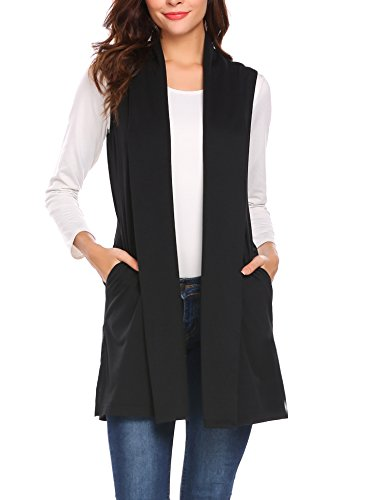 Beyove Women's Sleeveless Shawl Open Front Drape Cardigan Vest Black (Women Black Sweater Vest)