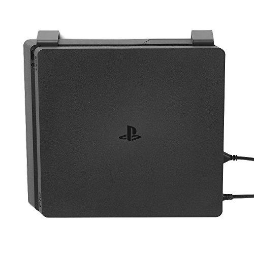 Borangame GameVspace - Soporte de Pared Vertical Compatible con Todos los Modelos de PlayStation 4 (Primera Serie, Slim y Pro), en Metal y con Porta Pad de Regalo