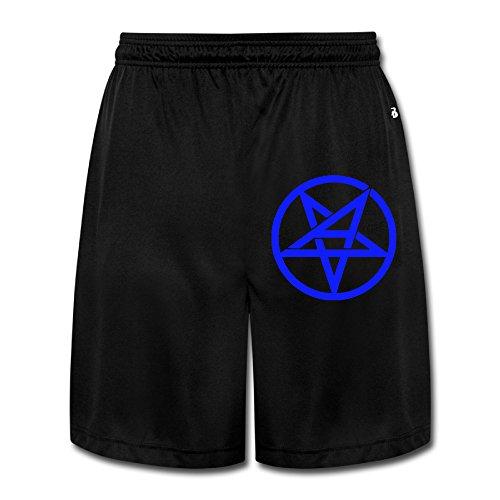 (MGTER66 Men's Anthrax Band Pentagram Logo Short Pants Size XXL Black)