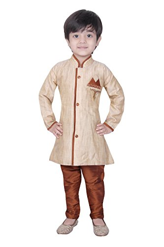 Baby Kurta Pyjama Sherwani Suit Indian Wedding Boy Bollywood Indo Western Party Wear Ethnic Dress (BW-9988) BEIGE & RUST