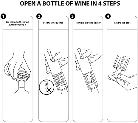 Abridor de vino eléctrico, abridor de botellas, sacacorchos, abrebotellas con cortador de láminas, el mejor regalo para los amantes del vino, 2 unidades, color negro