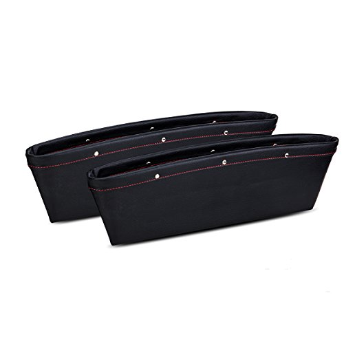 Car Pocket Organizer Seat Side caddy catcher Gap Filler Full Leather package - (Black)Pack of 2 (Side Filler)
