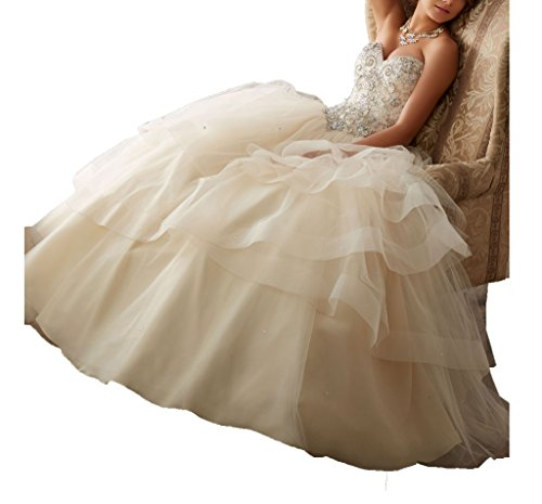 Cinderela Dress (Gorgeous Beaded Quinceanera Dresses for Sweet 16 Ball Gowns Long Prom Dress 0 US Champagne)
