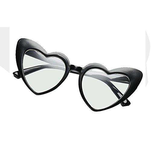 mignon Cadre fille Lunettes cœur unique C1 pour rétro HD forme soleil de Aolvo UV400 C6 en femme Eyewear de Taille léger nbsp;Noir Plastique Miroir TwrxPA8TX