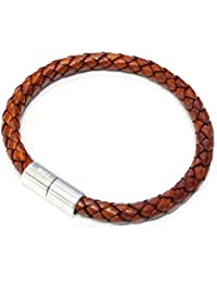 "Suki Braided Leather Bracelet - 6mm (1/4"") Medium Brown"