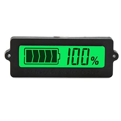 DROK® DC 8-63V Lead Acid Battery Capacity Tester, Green LCD Digital Display Lithium Battery Status Indicator, 12V/24V/36V/48V Battery Capacity Monitor Panel Gauge, Universal Car Vehicle Auto Electric Quantity Detector