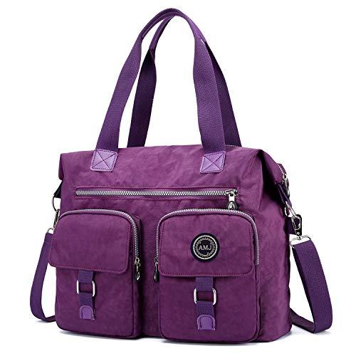 - AMJ Multi-Hobo Bags Crossbody Bags for Women Nylon Travel Messenger Bag Handbag Shoulder Bag Dark Purple