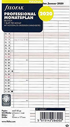 (Filofax Personal Professional Calendar Insert Monthly Planner (English)2020)