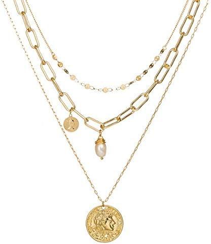 QFJCNZ Collar Mujer Carve Retrato Moneda Concha Carta Colgante Gargantilla Collar Boho Joyería Cadena de Oro 3 Capas Collar Regalo de Las Mujeres