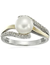 Sterling Silver and 14k Yellow Gold 7mm Freshwater Cultured Pearl and Diamond Ring