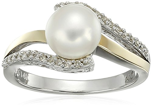 Sterling Silver and 14k Yellow Gold 7mm Freshwater Cultured Pearl and Diamond Ring (0.07 cttw, I-J Color, I3 Clarity), Size 8