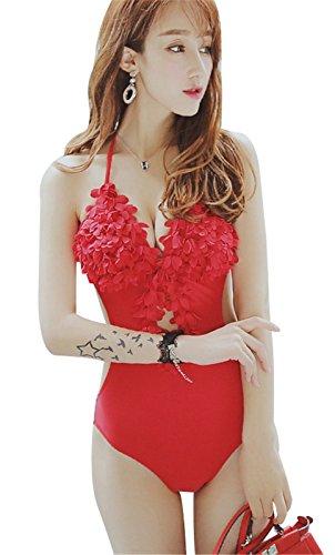 Costumi Swimsuit Uno Scoperta Moderate interi Rosso Cut Monokini 3D bagno da da 1 bagno Pezzi per Fiore Halterneck Costumi Out donna TqCaBBw