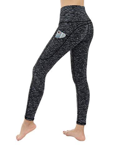 Dragon Fit High Waist Yoga Leggings with 3 Pockets,Tummy Control Workout Running 4 Way Stretch Yoga Pants (Large, Spacedye-BlackGrey)
